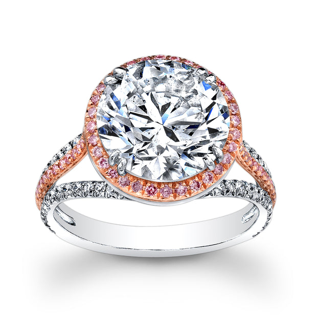2.60 Ct Riviera Diamond Engagement Ring w Pink Sapphire G Color SI1 GIA Certified