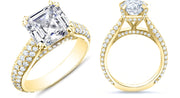 3.20 Ct. Asscher 3 Row Pave Diamond Engagement Ring H Color VVS2 GIA Certified