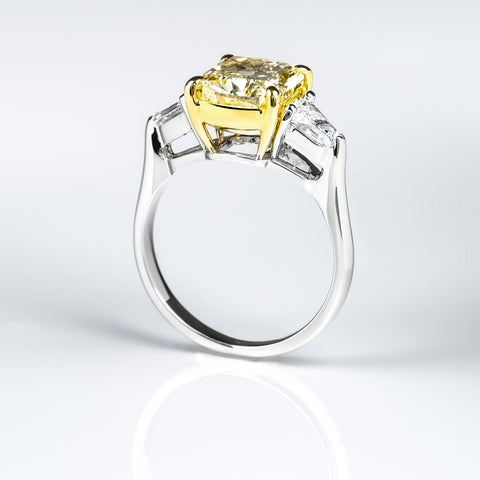 Canary Fancy Yellow Cushion Cut w Bullet Cut 3 Stone Diamond Ring Side View