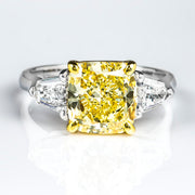 2.30 Ct. Canary Fancy Yellow Cushion Cut w Bullet Cut 3 Stone Diamond Ring VS2 GIA Certified