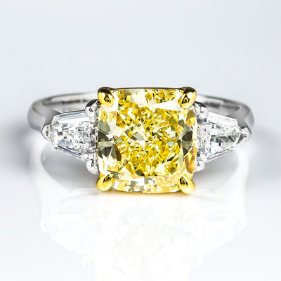 3.10 Ct. Canary Fancy Yellow Cushion Cut w Bullet Cut 3 Stone Diamond Ring SI1 GIA Certified