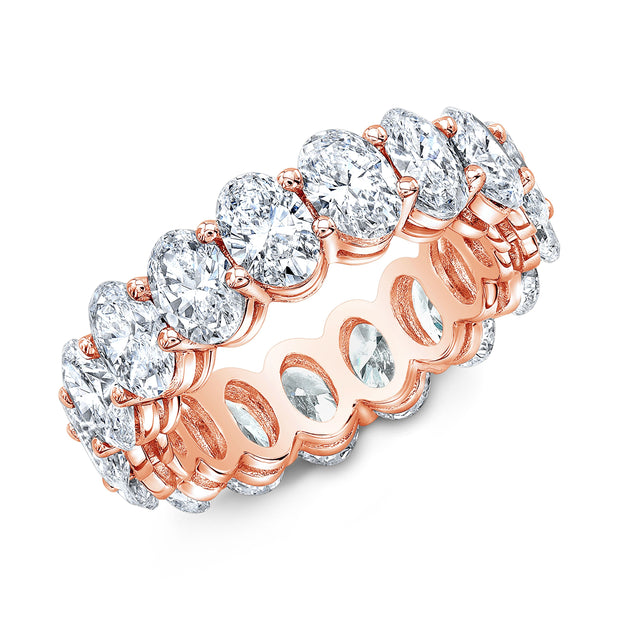 Oval Cut Diamond Eternity Ring Rose Gold