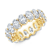 Oval Cut Diamond Eternity Ring Yellow Gold