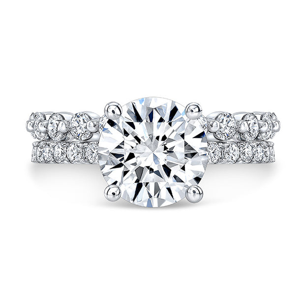 2.40 Round Cut Diamond Engagement Ring n Matching Band H Color VS2 GIA Certified 3X