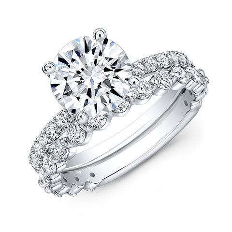 3.20 Round Cut Diamond Engagement Ring n Matching Band H Color VS2 GIA Certified