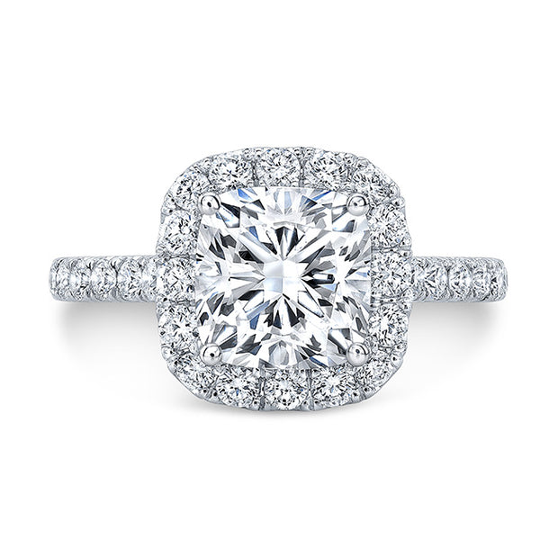 2.20 Ct. Jovani Cushion Cut Halo Diamond Engagement Ring F Color VS2 GIA Certified