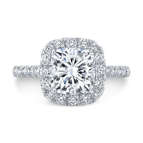 2.25 Ct Classic Halo Cushion Cut Diamond Engagement Ring H Color VVS2 GIA Certified