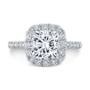 2.70 Ct. Jovani Cushion Cut Halo Diamond Engagement Ring H Color VS1 GIA Certified