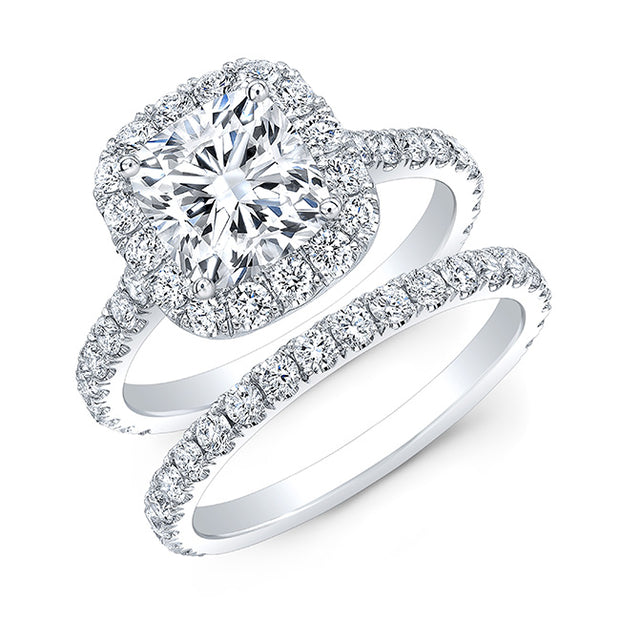 2.45 Ct. Classic Halo Cushion Cut Diamond Engagement Ring H Color VS1 GIA Certified