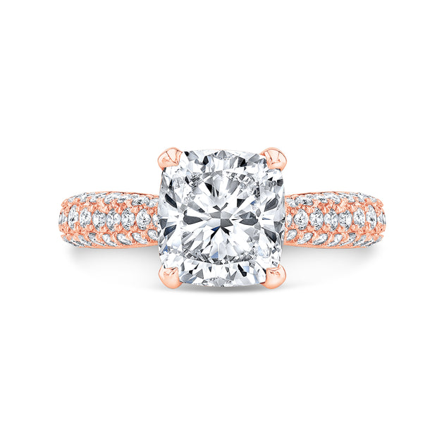 4.30 Ct. Cushion Cut Micro Pave Diamond Engagement Ring I Color VS1 GIA Certified