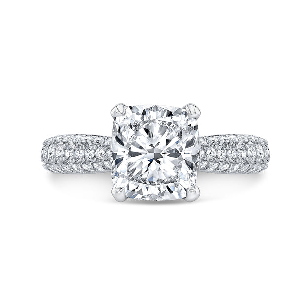 3.30 Ct. Cushion Cut Micro Pave Diamond Engagement Ring F Color VS2 GIA Certified