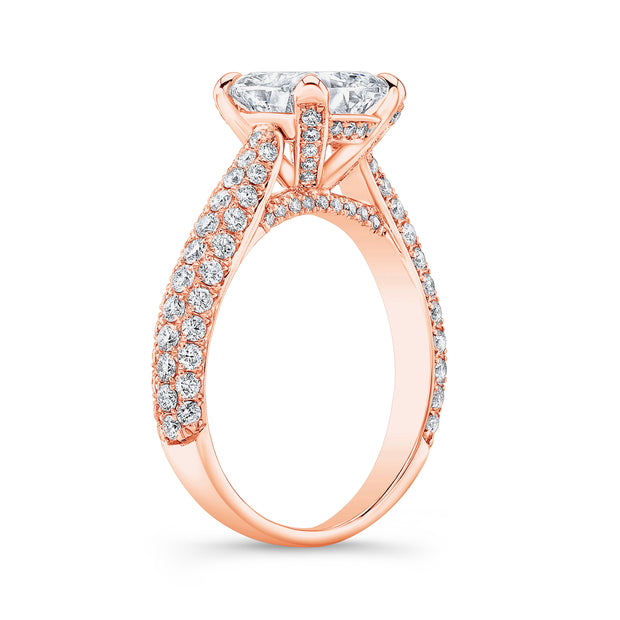 2.50 Ct. Cushion Cut Micro Pave Diamond Engagement Ring H Color VS2 GIA Certified