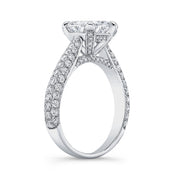 3.30 Ct. Cushion Cut Micro Pave Diamond Engagement Ring H Color VS1 GIA Certified