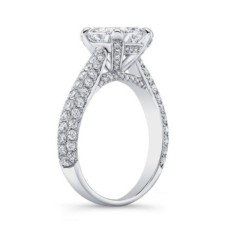 3.30 Ct. Princess Cut Micro Pave Diamond Engagement Ring H Color VS2 GIA Certified