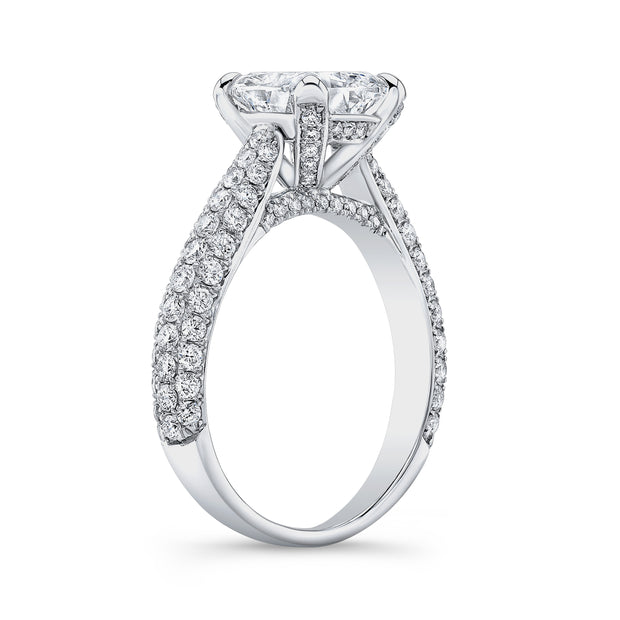 3.30 Ct. Cushion Cut Micro Pave Diamond Engagement Ring G Color VS1 GIA Certified
