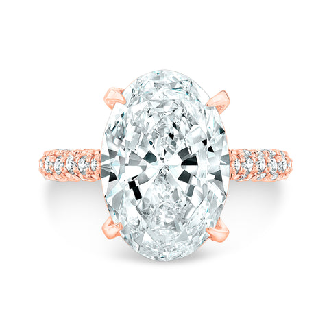 4.20 Ct. Delano Under Halo Oval Cut Diamond Engagement Ring J Color VS1 GIA Certified
