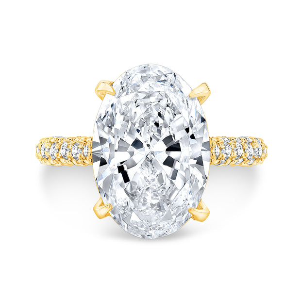 5.20 Ct. Delano Under Halo Oval Cut Diamond Engagement Ring F Color VS1 GIA Certified