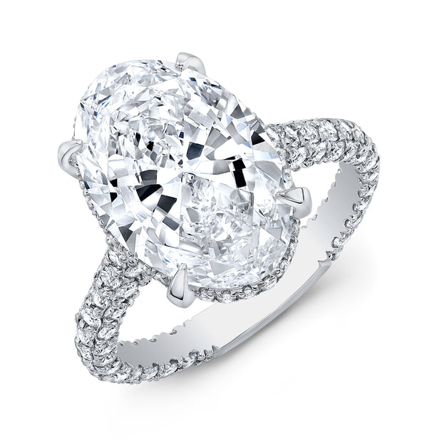 Under Halo Oval Cut Diamond Engagement Ring