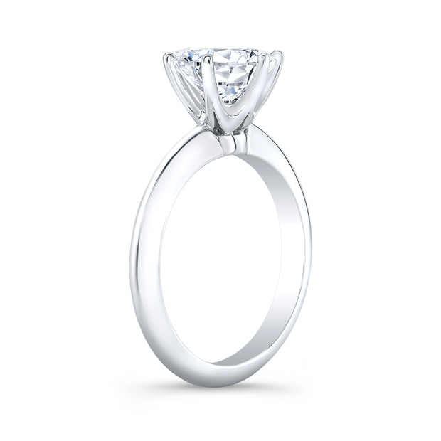 1.00 Ct. Round Cut Diamond Knife Edge Solitaire Ring H Color SI1 GIA Certified Triple Excellent