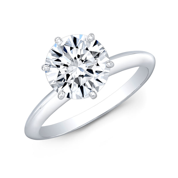 1.00 Ct. Round Cut Diamond Knife Edge Solitaire Ring G Color SI1 GIA Certified Triple Excellent