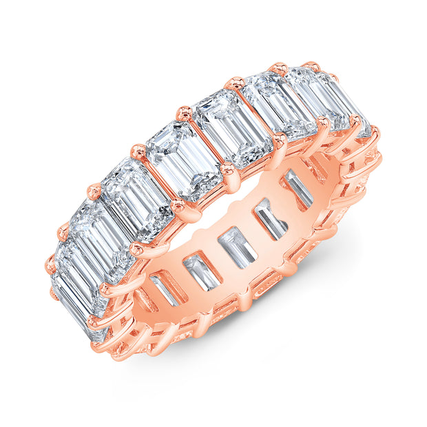 Gallery Shared Prong Emerald Cut Eternity Ring Rose Gold