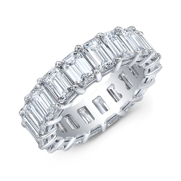 8.00 Ct. Emerald Cut Diamond Eternity Ring Classic Four Prong F-G Color VS1 Clarity