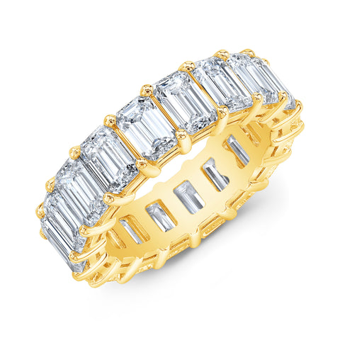 Yellow Gold Emerald Cut Diamond Eternity Ring
