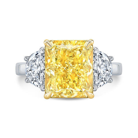 8.00 Ct. Canary Fancy Light Yellow Cushion Cut n Half Moons Diamond Ring VS2 GIA Certified
