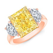 16.50 Ct. Canary Fancy Yellow Cushion Cut n Half Moons Diamond Ring VS2 GIA Certified