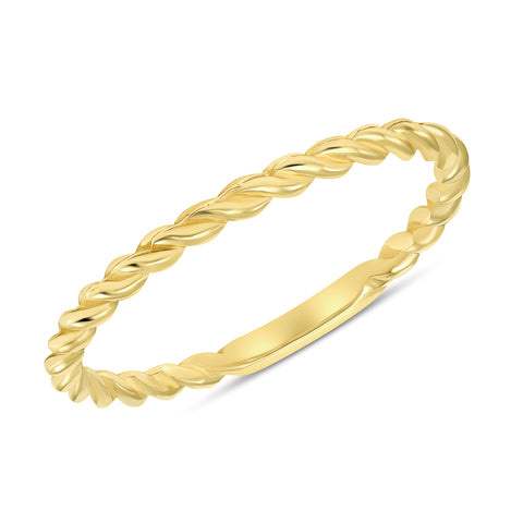 yellow gold braided twist ring