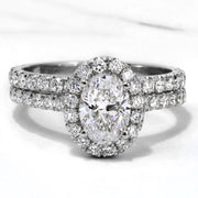 1.70 Ct. Classic Halo Oval Cut Diamond Engagement Ring GIA Certified