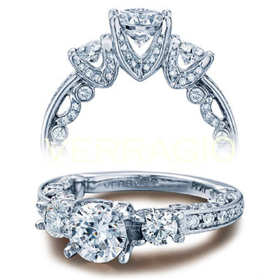 V Prong Three Stone Round Cut Diamond Verragio Paradiso Engagement Pave Ring