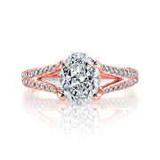 2.50 Ct. Oval Cut Diamond Pave Split Shank Engagement Ring H Color VS2 GIA Certified