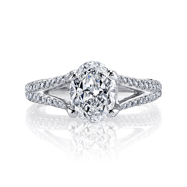 4.00 Ct. Oval Cut Diamond Split Shank Engagement Ring H Color VS2 GIA Certified