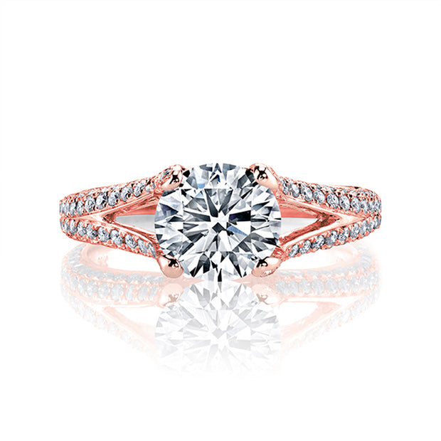 2.60 Ct. Round Cut Split Shank Pave Diamond ring I Color VS2 GIA Certified Triple Excellent