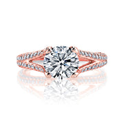 3.10 Ct. Round Cut Split Shank Pave Diamond ring H Color VS1 GIA Certified Triple Excellent