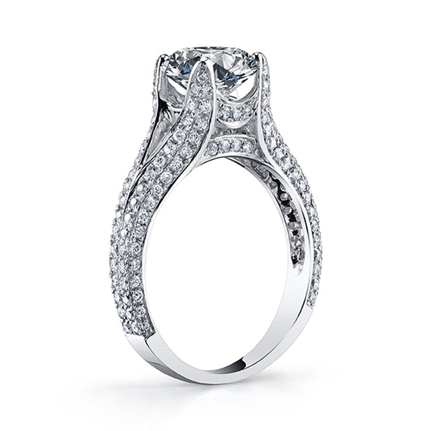 3.10 Ct. Round Cut Split Shank Pave Diamond ring J Color VS1 GIA Certified Triple Excellent