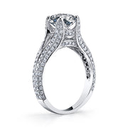 2.30 Ct. Round Cut Split Shank Pave Diamond ring J Color VS2 GIA Certified Triple Excellent