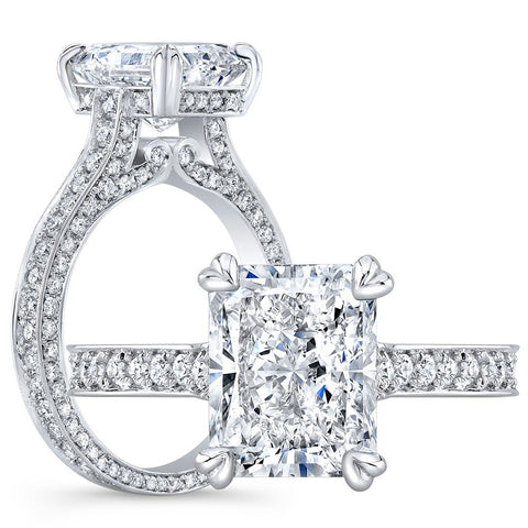 2.30 Ct. Radiant Cut Micro Pave Diamond Engagement Ring E Color VS2 GIA Certified