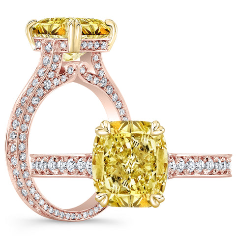 3.25 Ct. Canary Fancy INTENSE Yellow Cushion Cut Diamond Engagement Ring SI1 GIA Certified