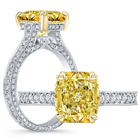 2.95 Ct. Canary Fancy Yellow Cushion Cut Diamond Engagement Ring VS1 GIA Certified