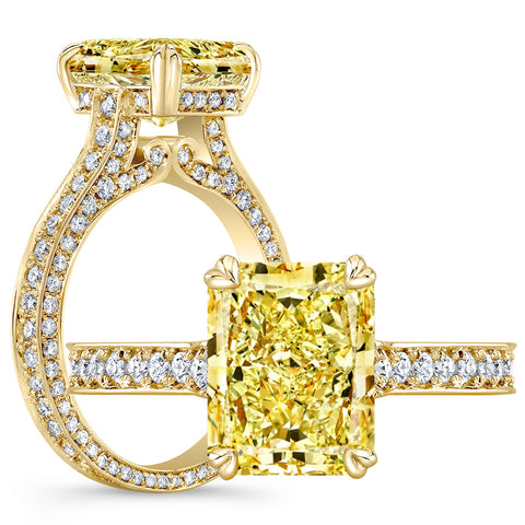 2.95 Ct. Canary Fancy Yellow Radiant Cut Diamond Engagement Ring VVS1 GIA Certified