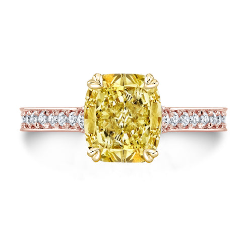 3.75 Ct. Canary Fancy Light Yellow Cushion Cut Diamond Engagement Ring VS1 GIA Certified