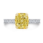 5.25 Ct. Canary Fancy INTENSE Yellow Cushion Cut Diamond Engagement Ring SI1 GIA Certified
