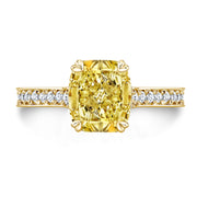 3.25 Ct. Canary Fancy Yellow Cushion Cut Diamond Engagement Ring VS2 GIA Certified