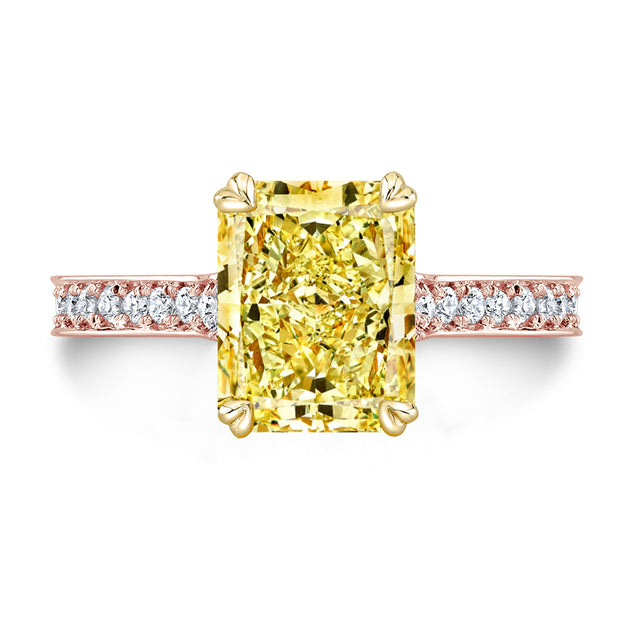 3.25 Ct. Canary Fancy Yellow Radiant Cut Diamond Engagement Ring VS1 GIA Certified