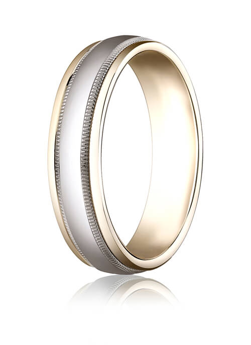 14k Two-Toned 6mm Comfort-Fit High Polished Carved Design Band with Milgrain - CF15601314k
