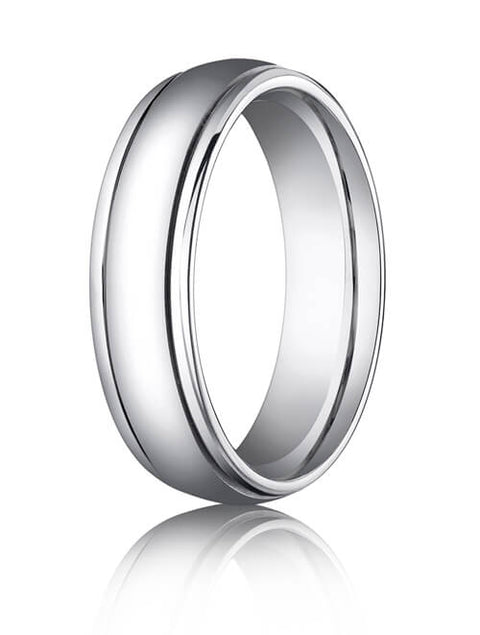 14k All White Gold 6mm Comfort-Fit High Polished Carved Design Band - CFW1560814k