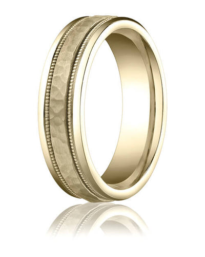 14k All Rose Gold 6mm Comfort-Fit Hammered-Finished with Milgrain Carved Design Band - CFRB15630914kr
