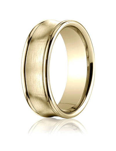 14k Yellow Gold 7.5mm Comfort-Fit Satin-Finished Concave Round Edge Carved Design Band - RECF8750014ky